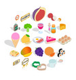 filling a biscuit icons set isometric style vector image