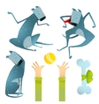 Funny Dogs Jumping Playing with Ball Sitting Clip vector image