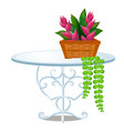 glass round table with forged metal legs vector image