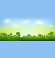 green landscape isolated with clouds and sky vector image vector image