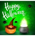 Halloween greeting card with witch hat pumpkin vector image vector image