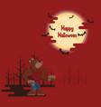 halloween werewolf howling under moon vector image