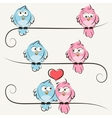 hand drawn birds in love vector image