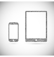 Hand-drawn electronic devices vector image