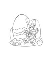happy easter bunny giving egg vector image vector image
