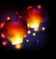 Heart shaped sky lantern vector image vector image