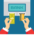 Human Hands with Plastic Card and Dollar - ATM vector image vector image