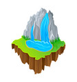 isometric island with waterfall and green grass vector image