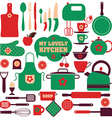 Kitchen set icons vector image vector image