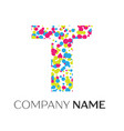 letter t logo with blue yellow red particles vector image