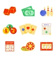 Lottery flat icon set vector image