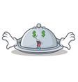 money eye tray character cartoon style vector image