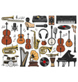 music instruments musical notes and equipment vector image vector image