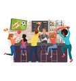 people watching football and celebrating in bar vector image