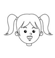 portrait pretty little girl happy outline vector image vector image