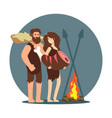 primitive people cooking dinner on open fire vector image vector image