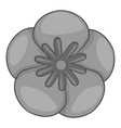 Rose of Sharon korean icon gray monochrome style vector image vector image