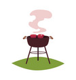 round bbq barbecue charcoal grill with steaks vector image