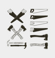 set carpentry tools wood work equipment vector image