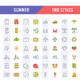 set flat line icons summer vector image