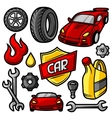 Set of car repair service objects and items vector image vector image