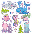Set of sea animals cartoons