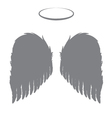 Silhouette angel wings and halo vector image