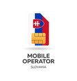 slovakia mobile operator sim card with flag vector image vector image