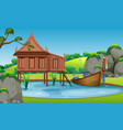 thai traditional house landscape vector image