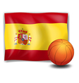 The flag of Spain and an orange ball vector image vector image