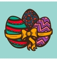 Three eggs with ribbon and bow vector image vector image