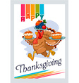 turkey that carries pies on Thanksgiving Day vector image vector image