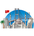 turkey with landmarks vector image vector image