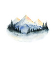 watercolor winter landscape with mountains vector image vector image