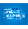 Web marketing in word cloud on blue background vector image vector image