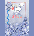 winter sale vertical banner with snowfall and tags vector image vector image