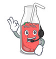 with headphone strawberry smoothie mascot cartoon vector image