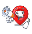 with megaphone gps navigation pin on character vector image vector image