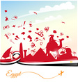 egypt background with ribbon flag and symbol vector image