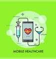 syringe and stethoscope connected to smartphone vector image