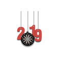 2019 new year and dartboard hanging on strings vector image vector image
