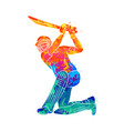 abstract batsman playing cricket from splash of vector image vector image