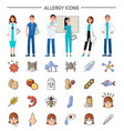 allergy icons medical care for sick patients vector image