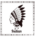 American indian chieftain black sketch vector image