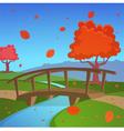 Autumn landscape with bridge vector image