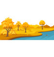 autumn rural landscape with hills and river vector image vector image