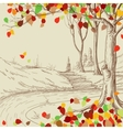 Autumn tree in the park sketch bright leaves vector image vector image