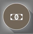 bank note dollar sign white icon on brown vector image vector image