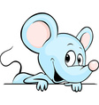 Blue cute mouse cartoon peeking out from white