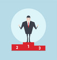 businessman standing on number one podium vector image vector image